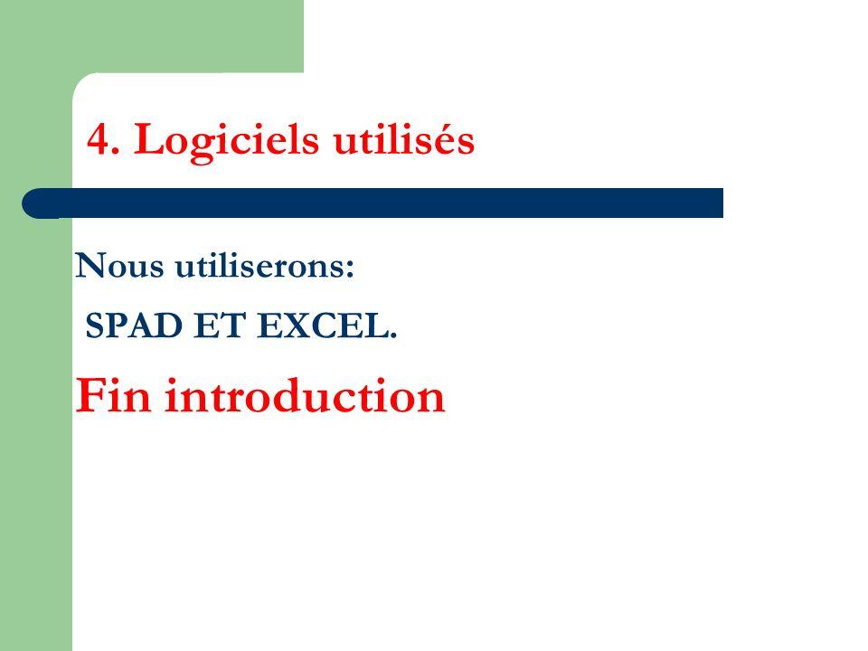 Fin introduction 4. Logiciels utilisés Nous utiliserons: