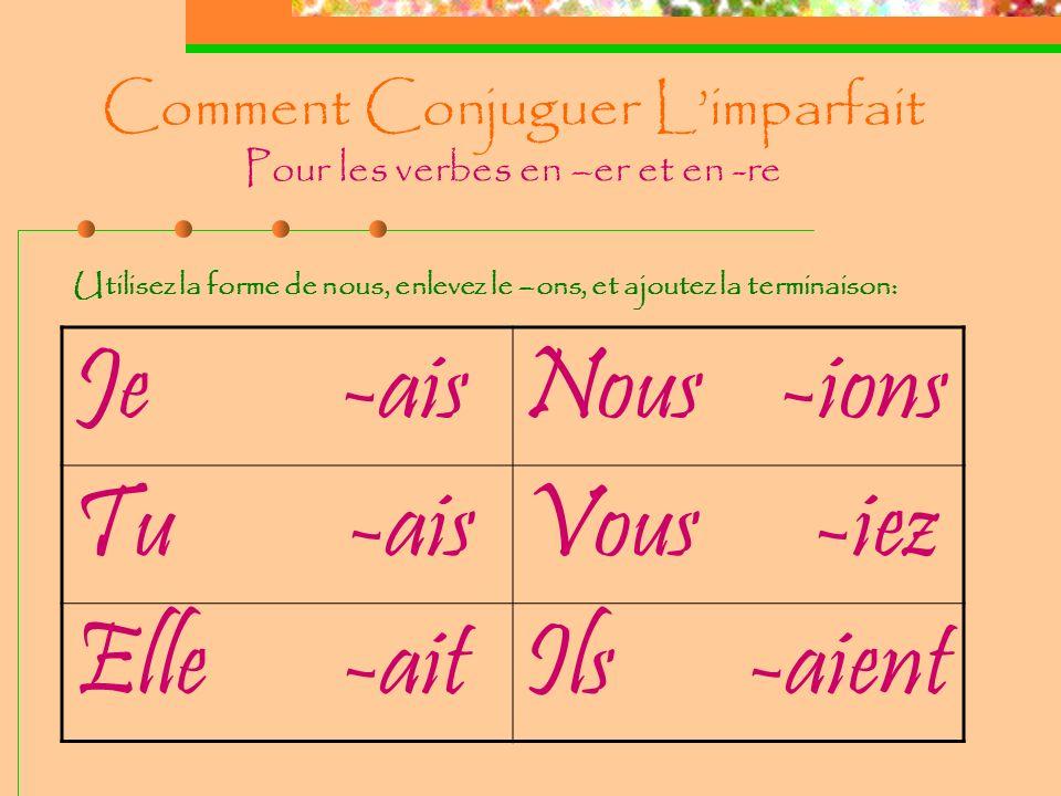 Comment Conjuguer L'imparfait Pour les verbes en –er et en -re