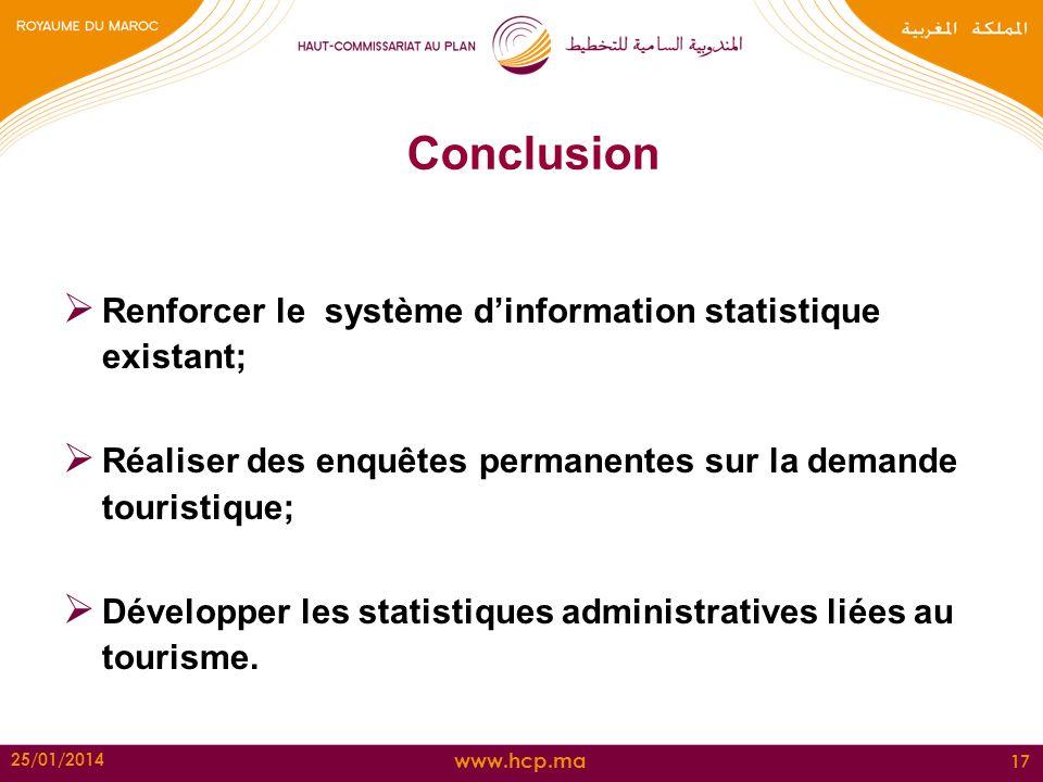 Conclusion Renforcer le système d'information statistique existant;
