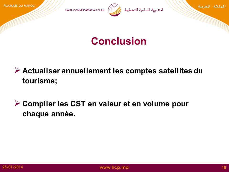 Conclusion Actualiser annuellement les comptes satellites du tourisme;