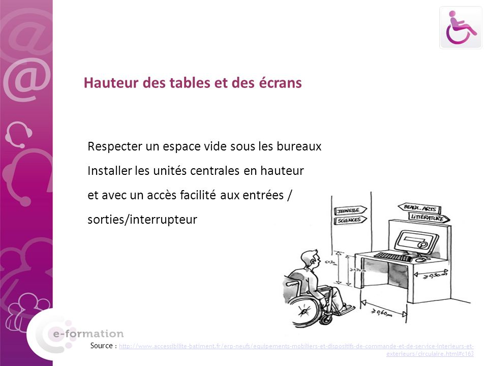 Hauteur des tables et des écrans