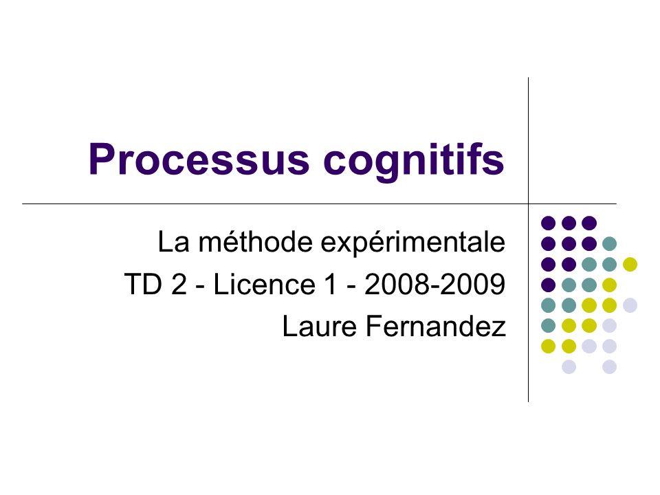 La méthode expérimentale TD 2 - Licence 1 - 2008-2009 Laure Fernandez