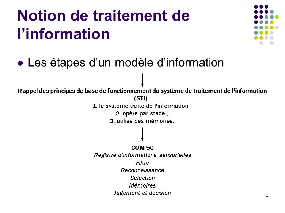 Notion de traitement de l'information