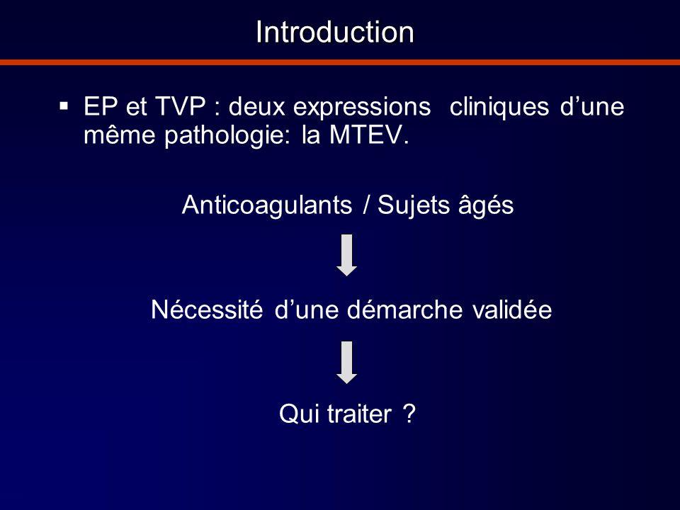 Introduction EP et TVP : deux expressions cliniques d'une même pathologie: la MTEV. Anticoagulants / Sujets âgés.