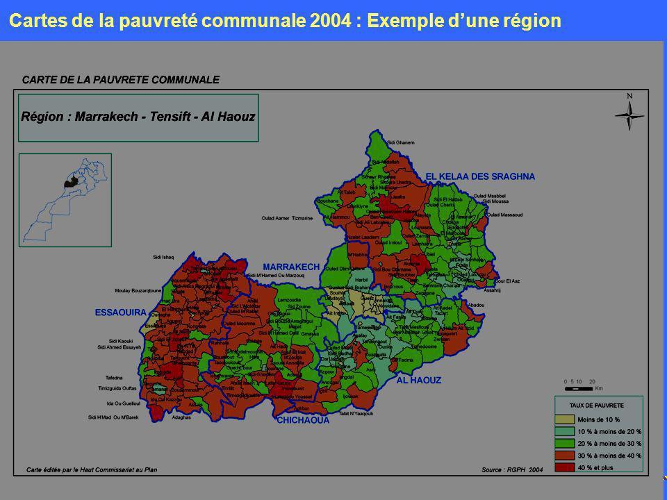 Cartes de la pauvreté communale 2004 : Exemple d'une région