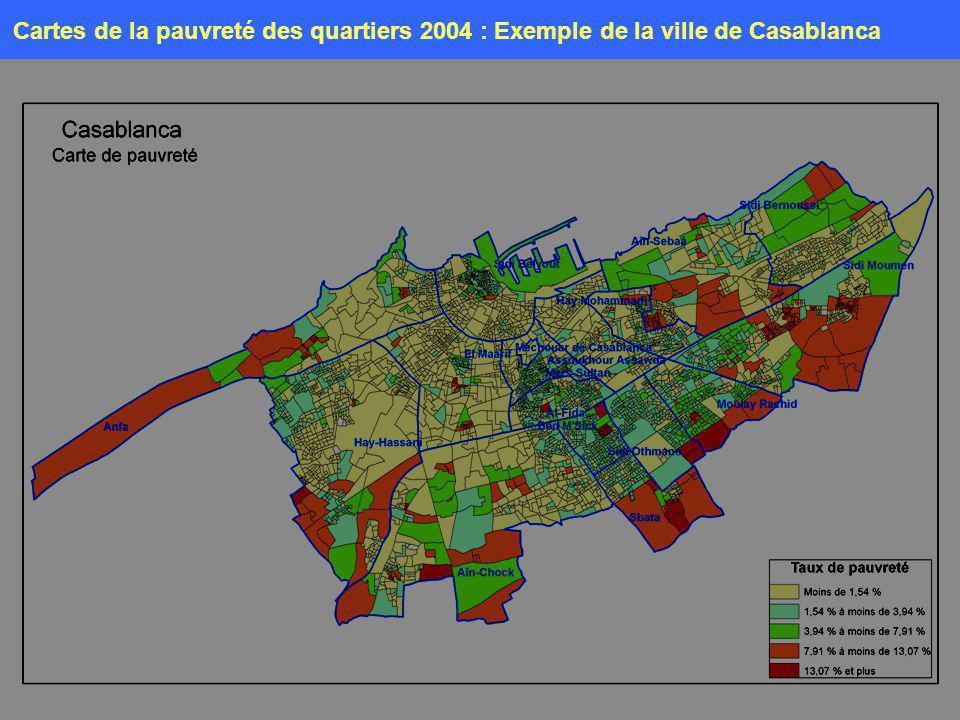 Cartes de la pauvreté des quartiers 2004 : Exemple de la ville de Casablanca