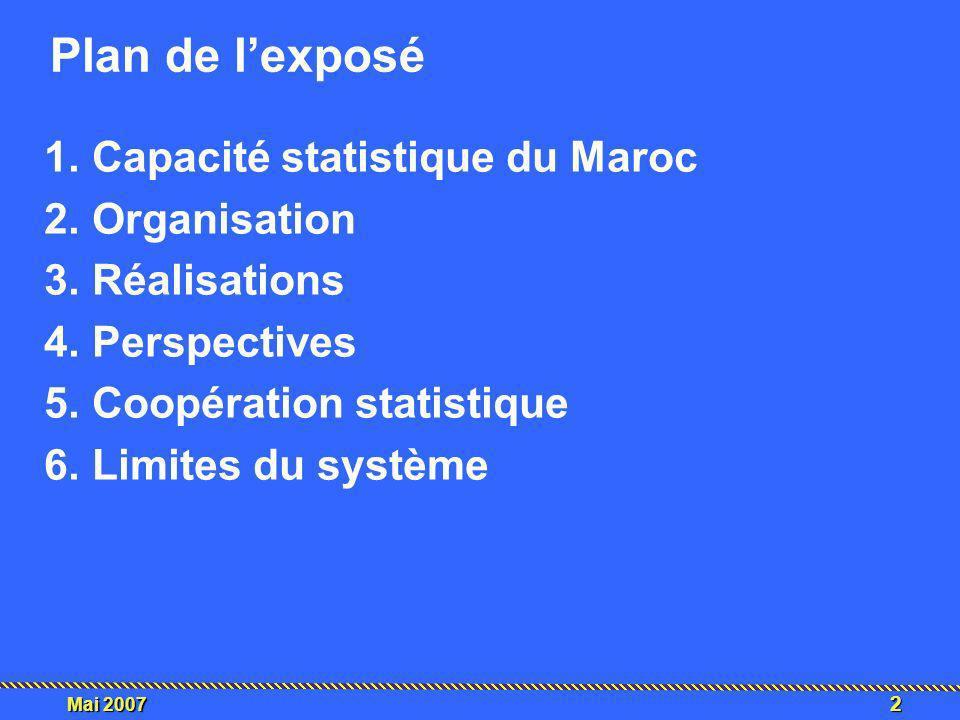 Plan de l'exposé Capacité statistique du Maroc Organisation