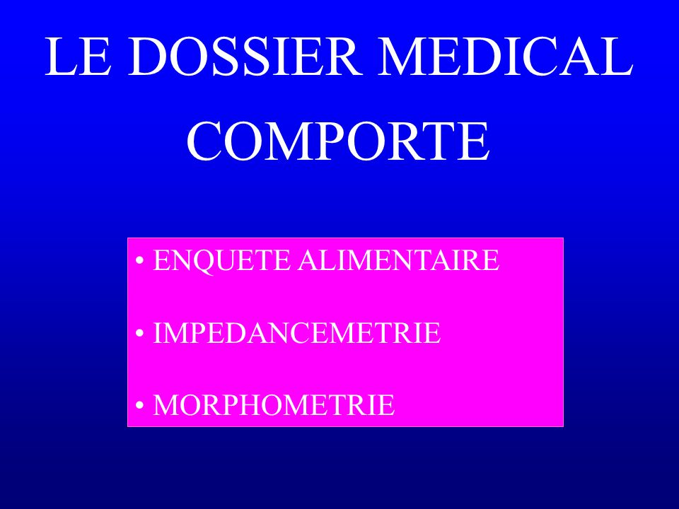 LE DOSSIER MEDICAL COMPORTE ENQUETE ALIMENTAIRE IMPEDANCEMETRIE