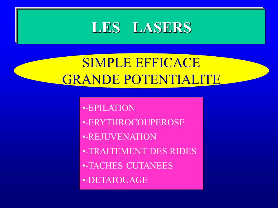 LES LASERS SIMPLE EFFICACE GRANDE POTENTIALITE -EPILATION