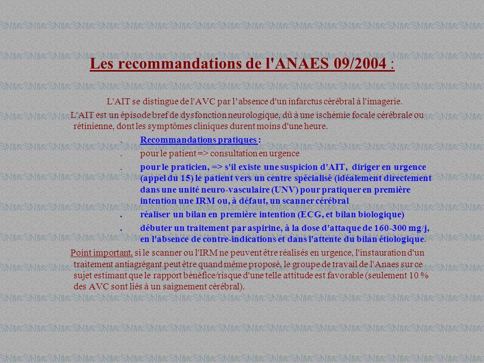 Les recommandations de l ANAES 09/2004 :