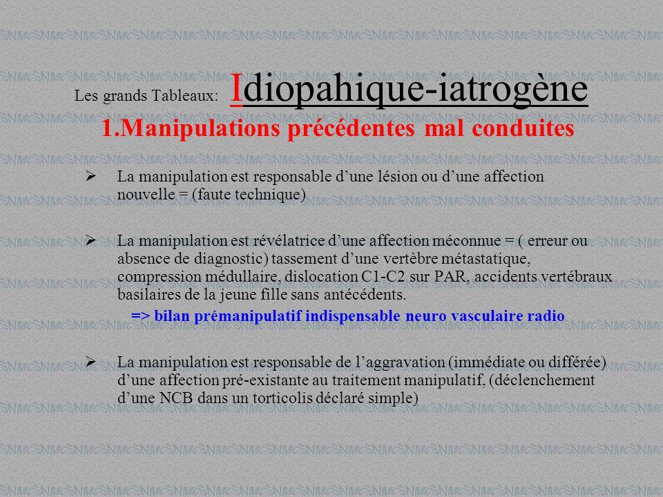 Les grands Tableaux: Idiopahique-iatrogène