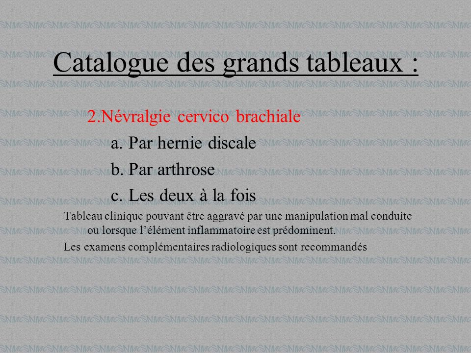 Catalogue des grands tableaux :