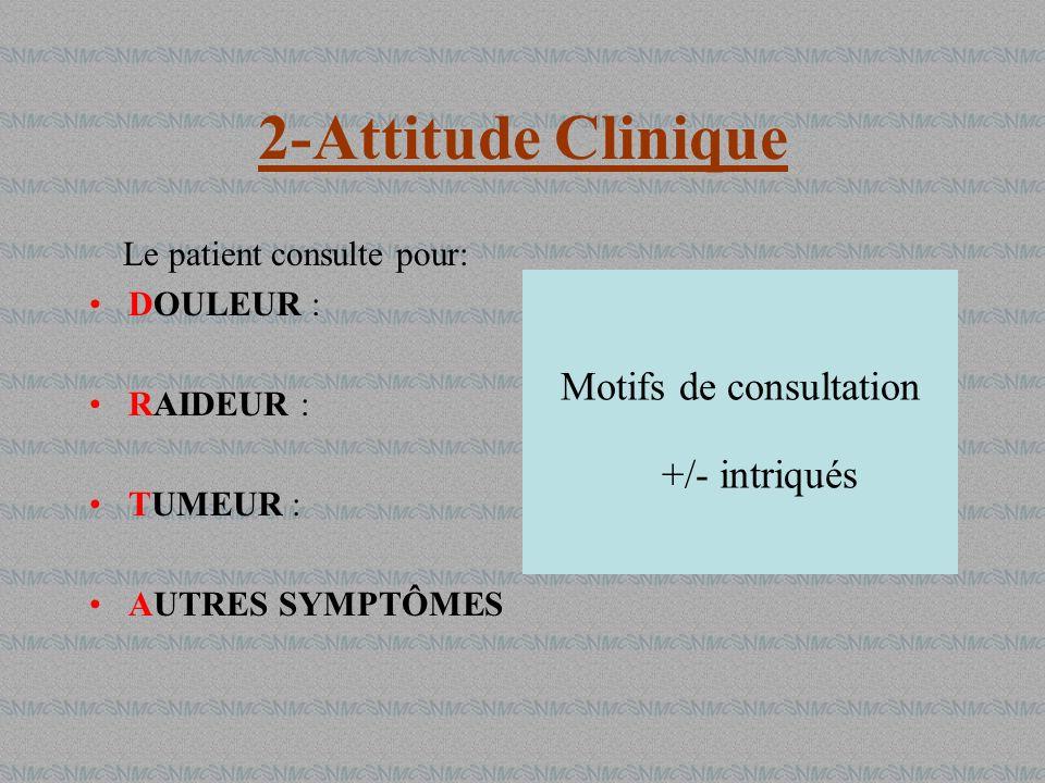2-Attitude Clinique Motifs de consultation +/- intriqués