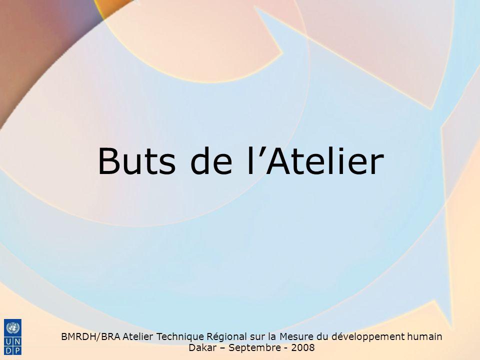 Buts de l'Atelier BMRDH/BRA Atelier Technique Régional sur la Mesure du développement humain Dakar – Septembre - 2008.