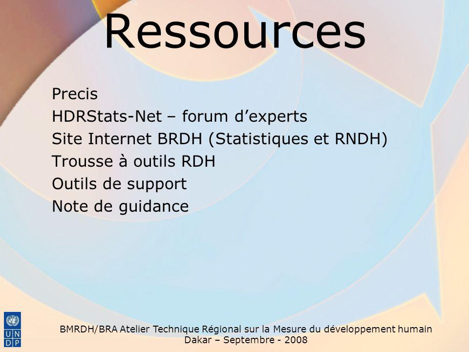 Ressources Precis HDRStats-Net – forum d'experts Site Internet BRDH (Statistiques et RNDH) Trousse à outils RDH Outils de support Note de guidance