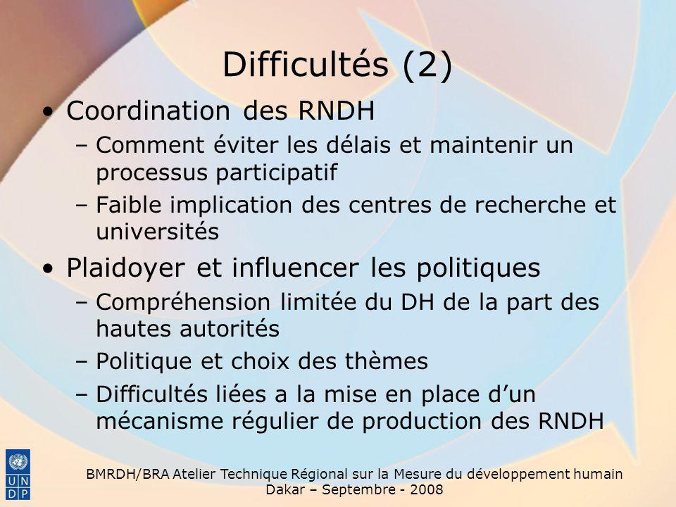 Difficultés (2) Coordination des RNDH