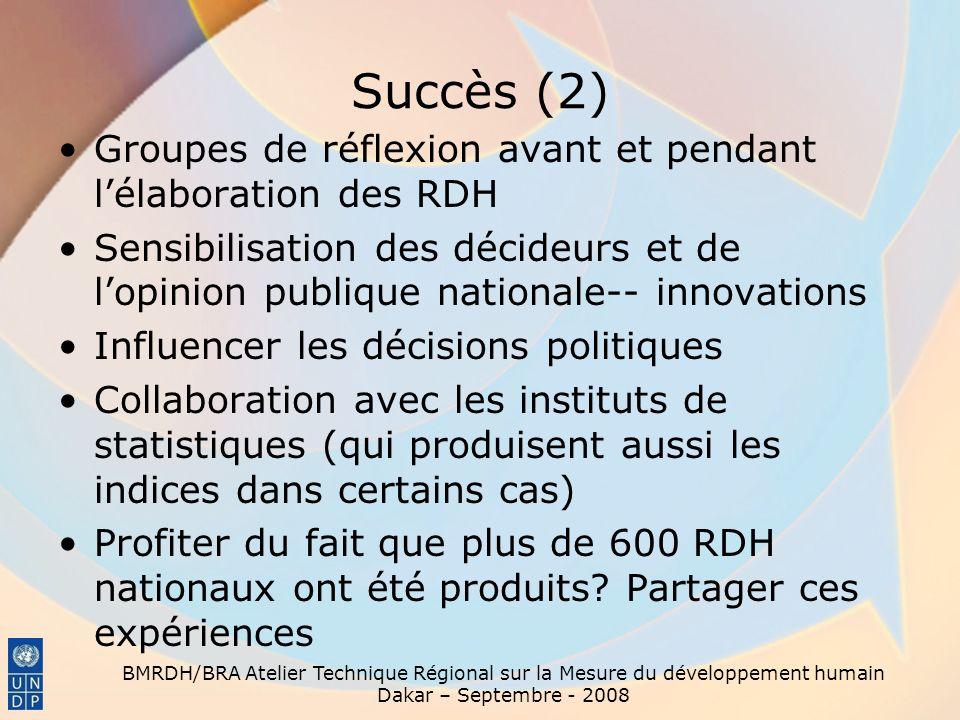 Succès (2) Groupes de réflexion avant et pendant l'élaboration des RDH