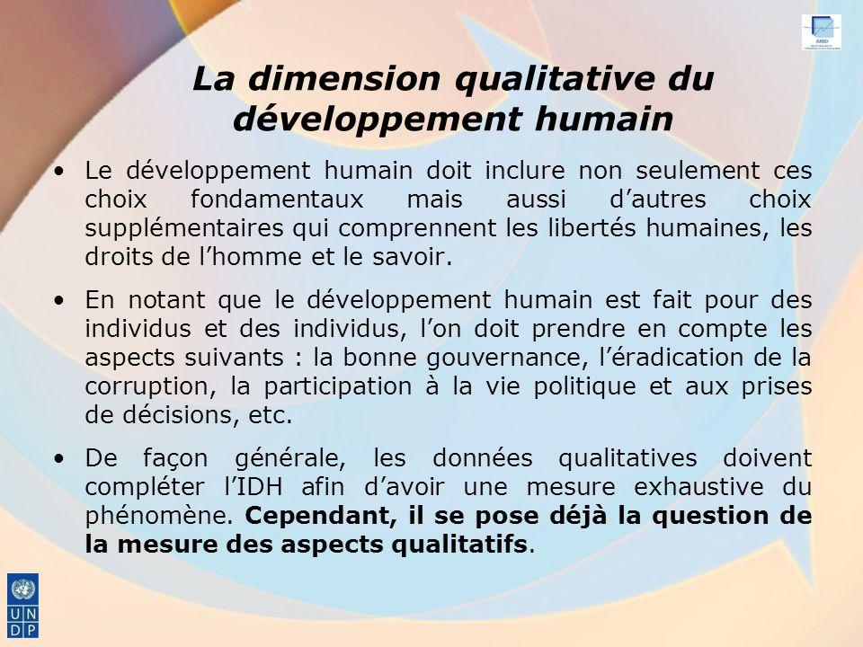 La dimension qualitative du développement humain