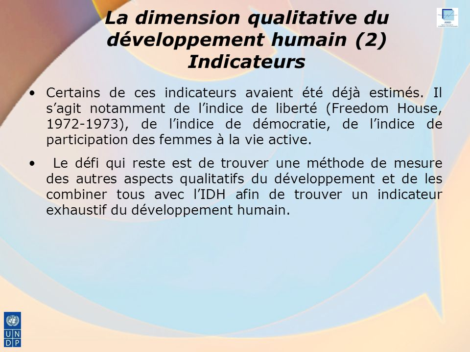 La dimension qualitative du développement humain (2) Indicateurs