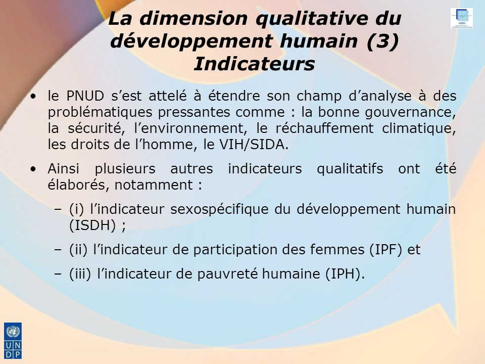 La dimension qualitative du développement humain (3) Indicateurs