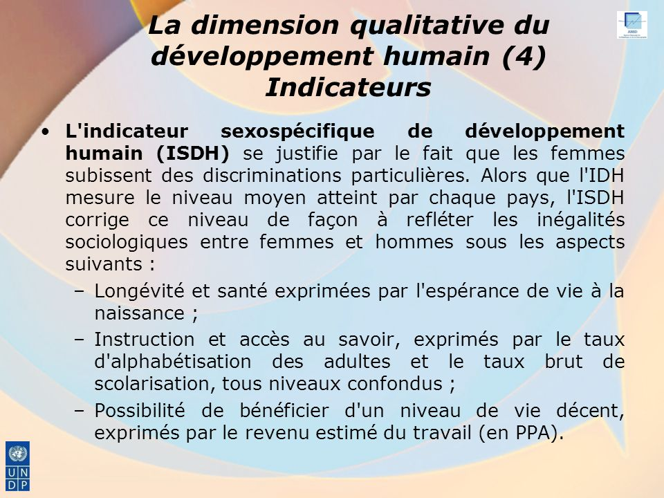 La dimension qualitative du développement humain (4) Indicateurs