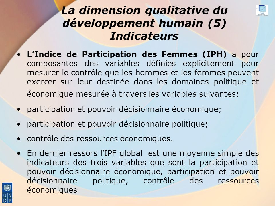 La dimension qualitative du développement humain (5) Indicateurs