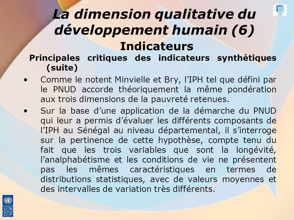 La dimension qualitative du développement humain (6) Indicateurs