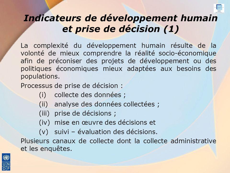 Indicateurs de développement humain et prise de décision (1)
