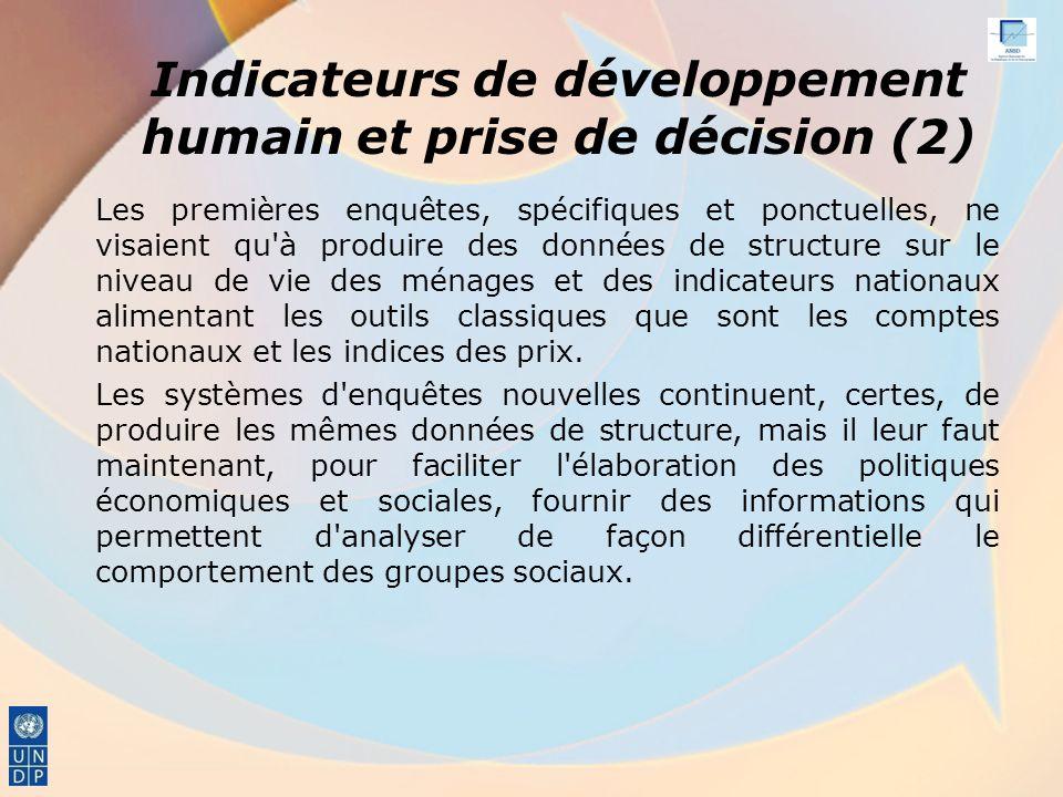 Indicateurs de développement humain et prise de décision (2)