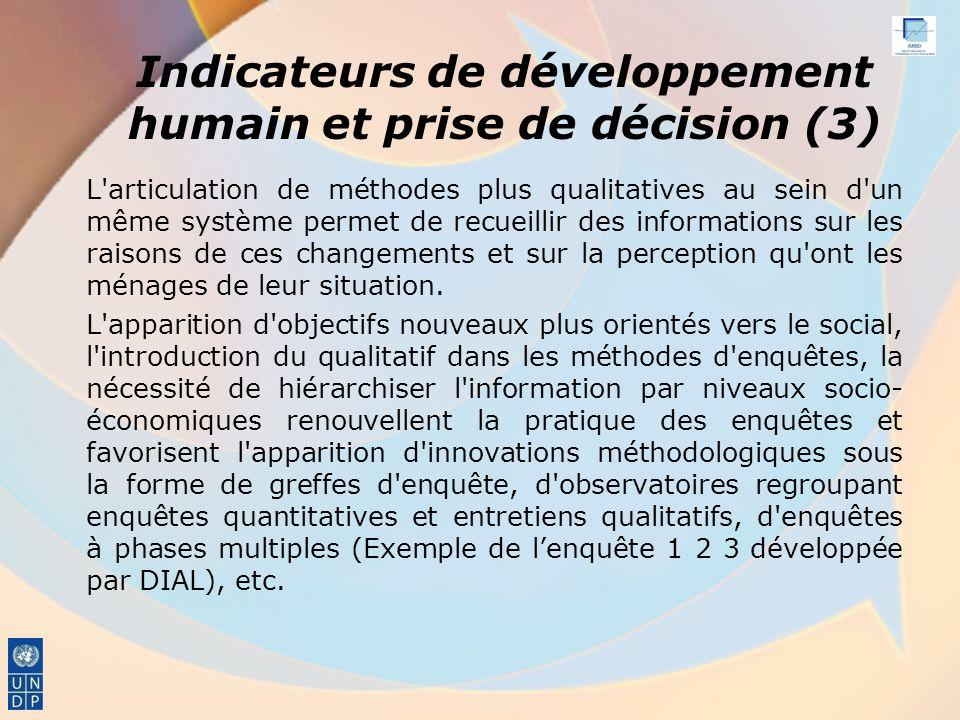 Indicateurs de développement humain et prise de décision (3)