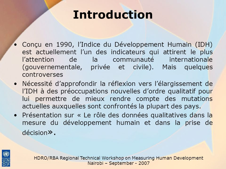 HDRO/RBA Regional Technical Workshop on Measuring Human Development