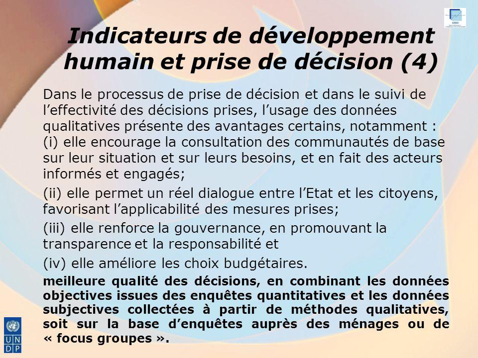Indicateurs de développement humain et prise de décision (4)