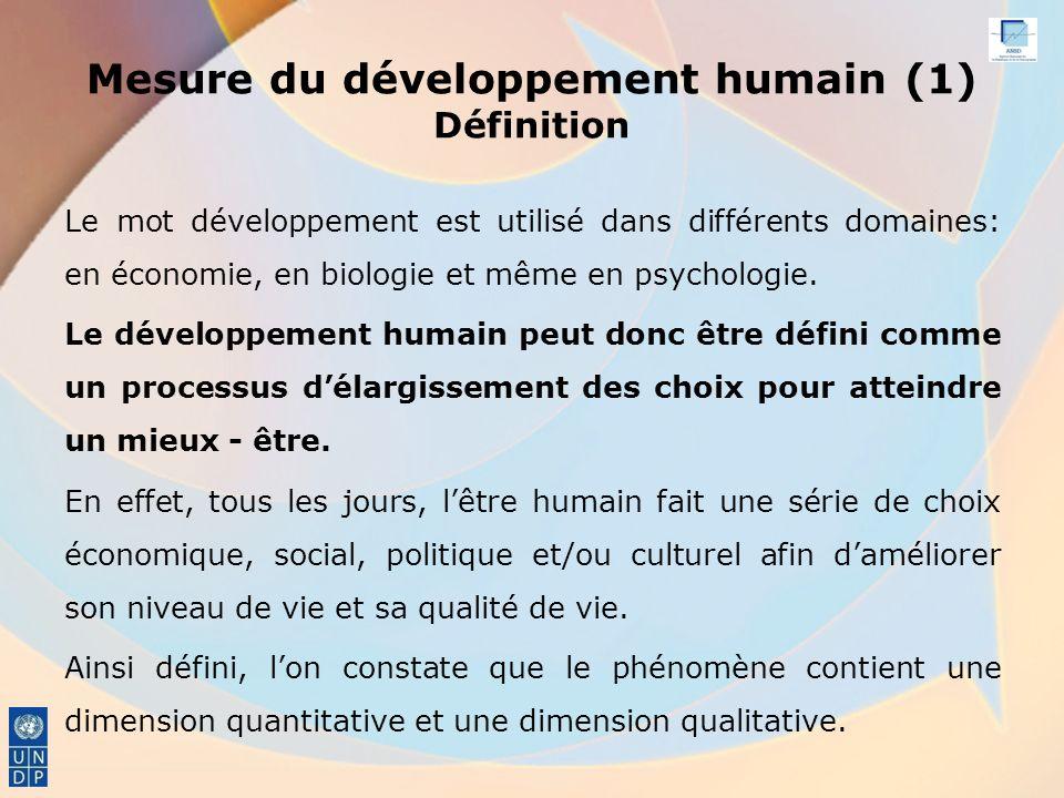 Mesure du développement humain (1) Définition