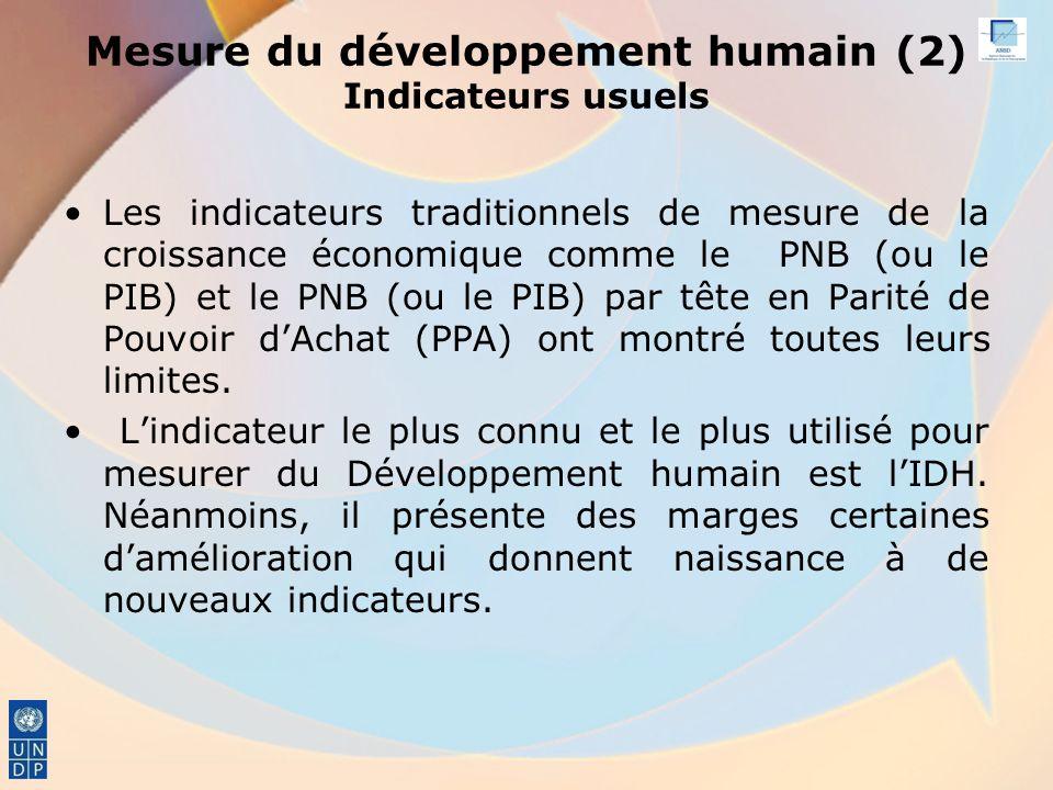 Mesure du développement humain (2) Indicateurs usuels