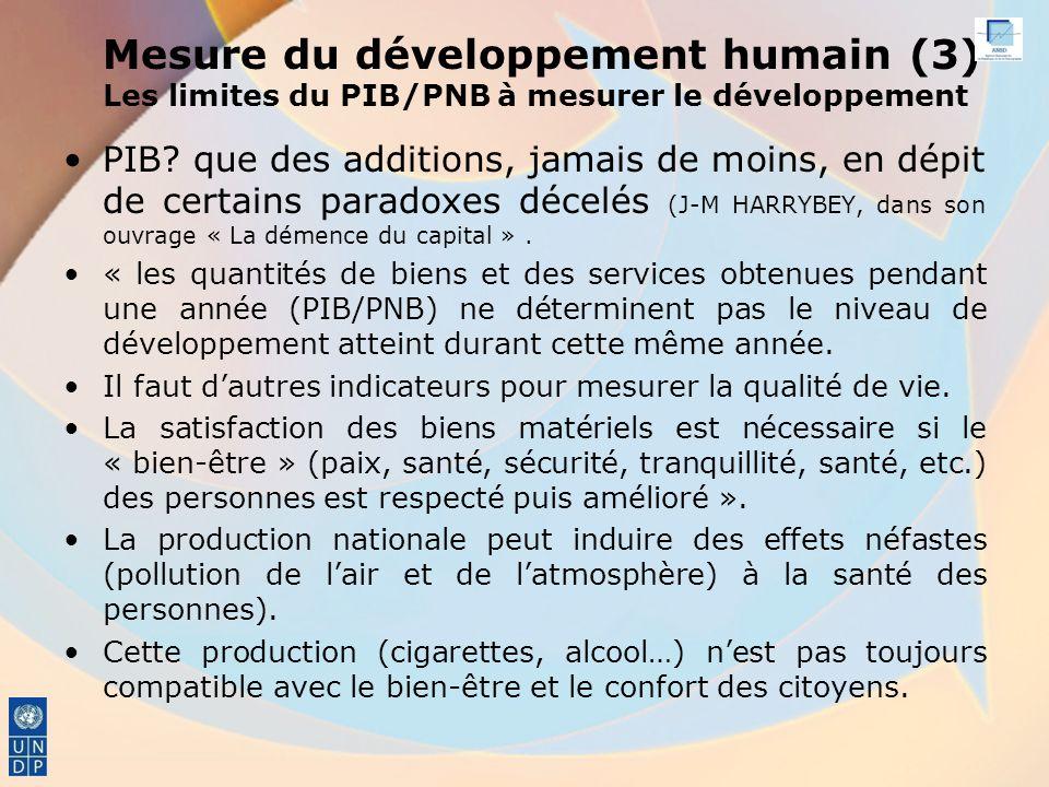 Mesure du développement humain (3) Les limites du PIB/PNB à mesurer le développement