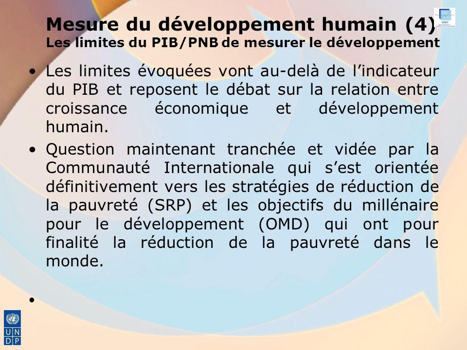 Mesure du développement humain (4) Les limites du PIB/PNB de mesurer le développement