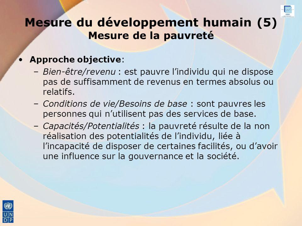 Mesure du développement humain (5) Mesure de la pauvreté