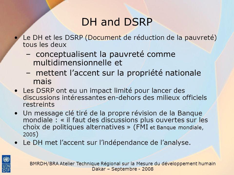 DH and DSRP conceptualisent la pauvreté comme multidimensionnelle et