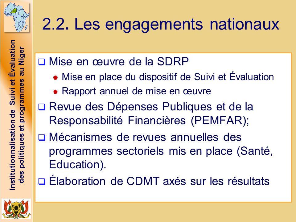 2.2. Les engagements nationaux