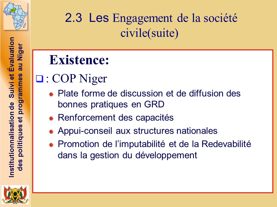 2.3 Les Engagement de la société civile(suite)