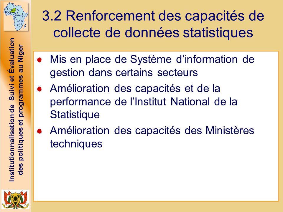 3.2 Renforcement des capacités de collecte de données statistiques