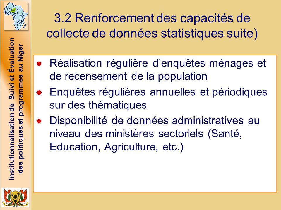 3.2 Renforcement des capacités de collecte de données statistiques suite)