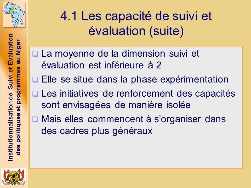 4.1 Les capacité de suivi et évaluation (suite)