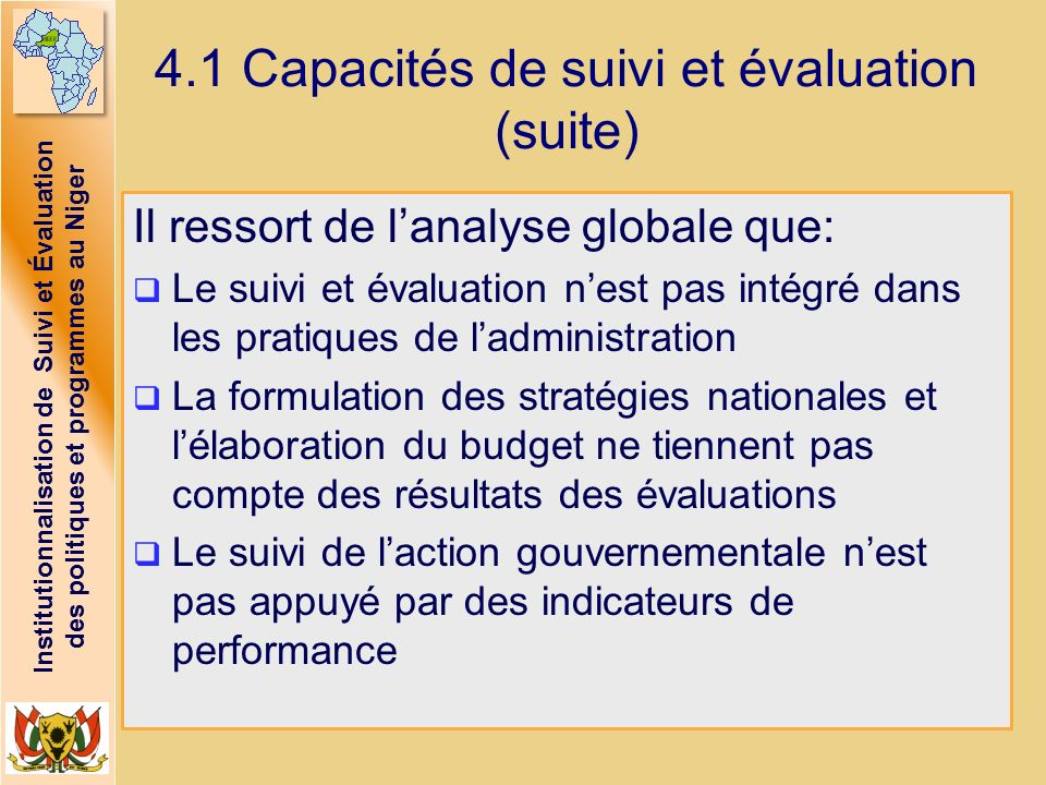 4.1 Capacités de suivi et évaluation (suite)