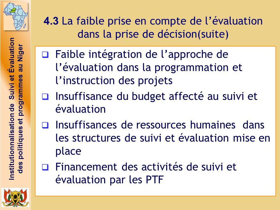 4.3 La faible prise en compte de l'évaluation dans la prise de décision(suite)