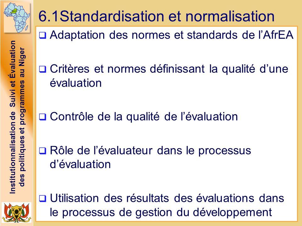 6.1Standardisation et normalisation