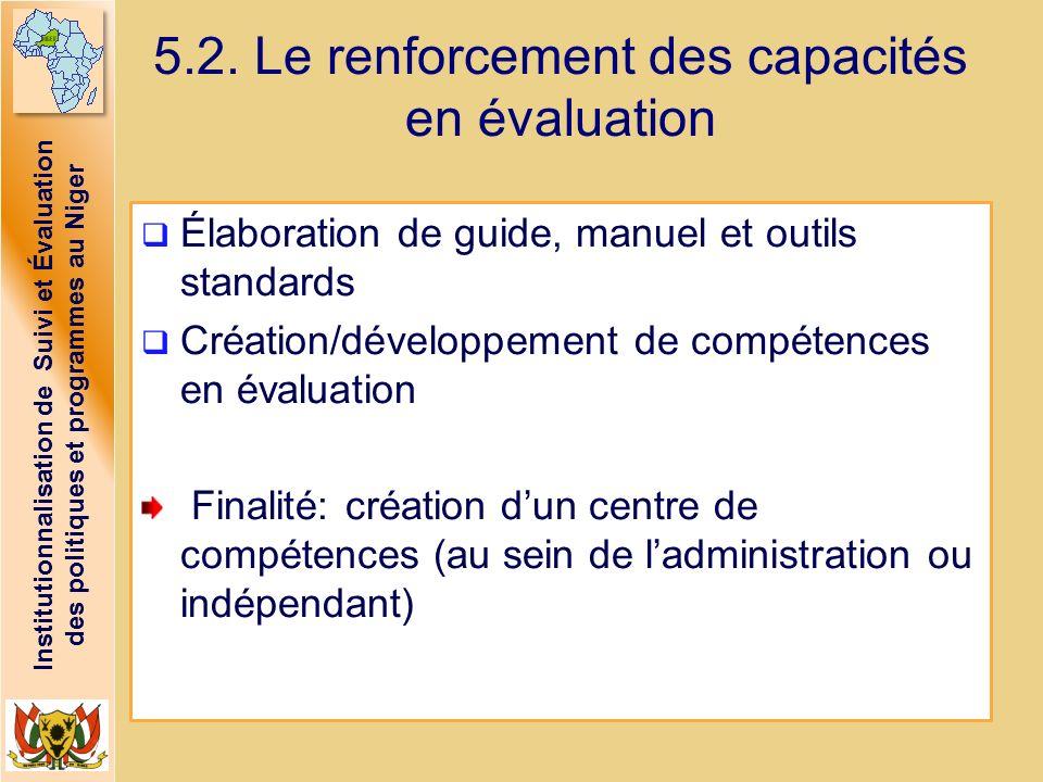 5.2. Le renforcement des capacités en évaluation