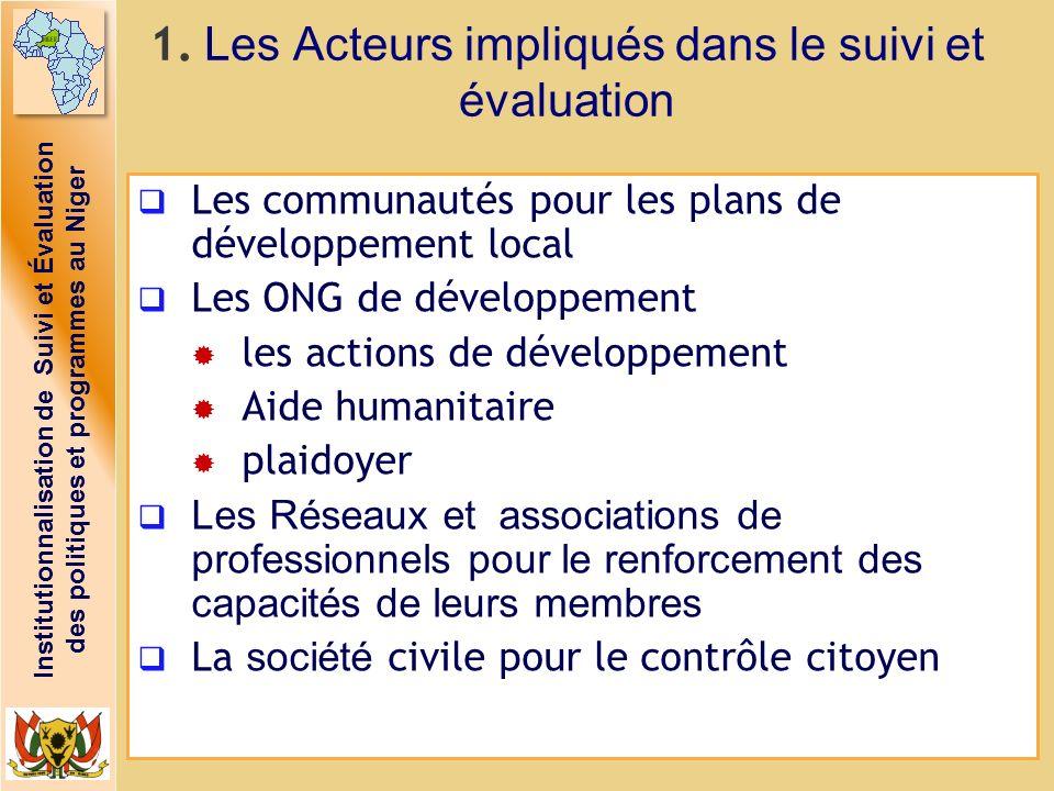 1. Les Acteurs impliqués dans le suivi et évaluation