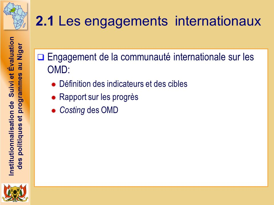 2.1 Les engagements internationaux