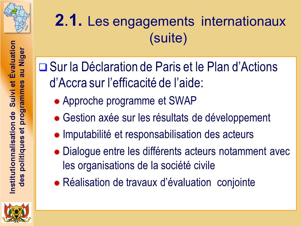 2.1. Les engagements internationaux (suite)